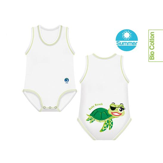 BODY MONOTAGLIA 0-36M TARTARUGA BIO COTTON SUMMER BEACH COLLECTION